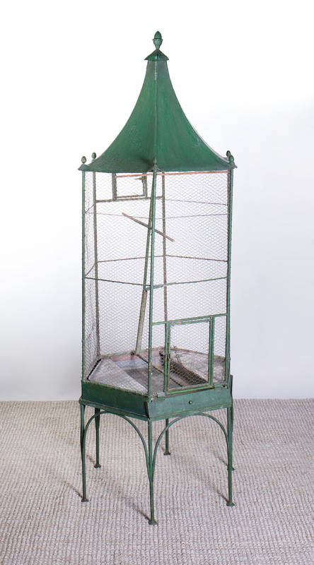 GREEN PAINTED TÔLE BIRD CAGE ON STAND