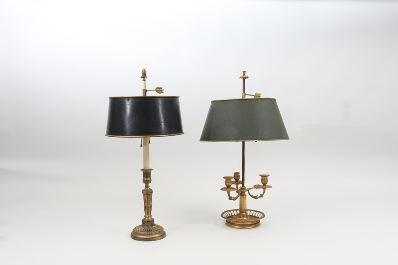 Louis XVI Style Ormolu Three-Light Bouillotte Lamp and a Candlestick Lamp