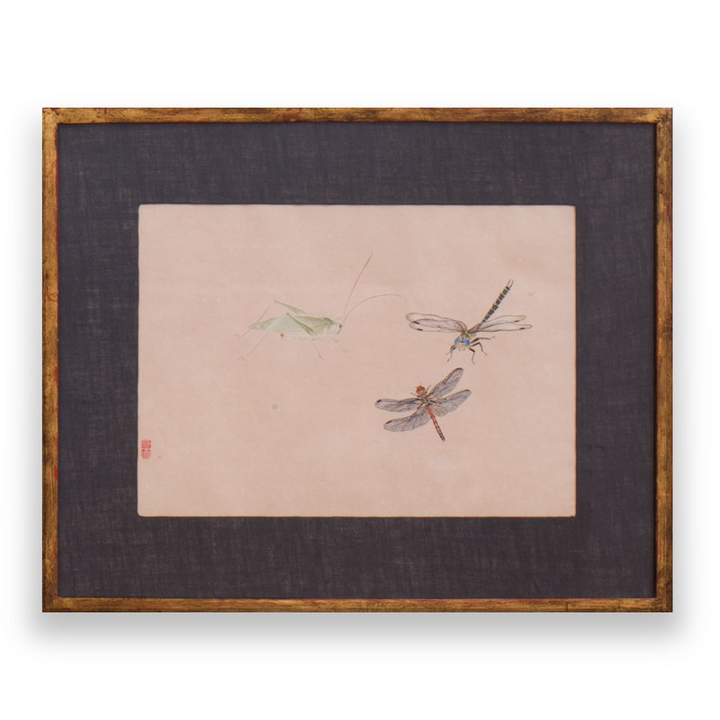 Japanese School: A Cricket and Two Dragonflies