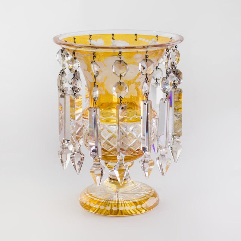 Bohemian Amber Glass Luster