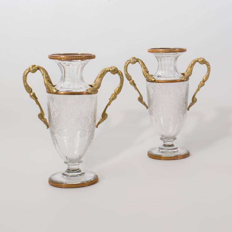 Pair of French Gilt-Metal-Mounted Etched Glass Vases