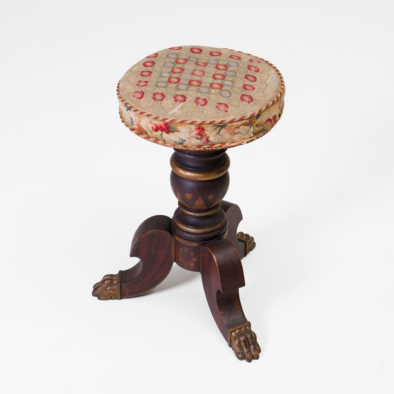 Victorian Grained and Parcel-Gilt Piano Stool