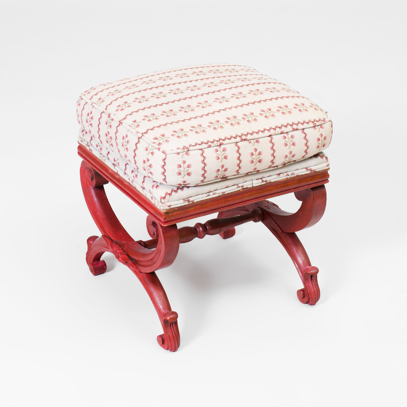 George III Style Painted Curule Stool