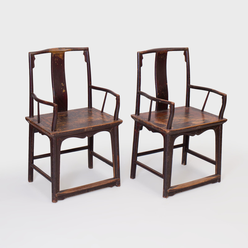 Pair of Chinese Lacquered Elm Armchairs