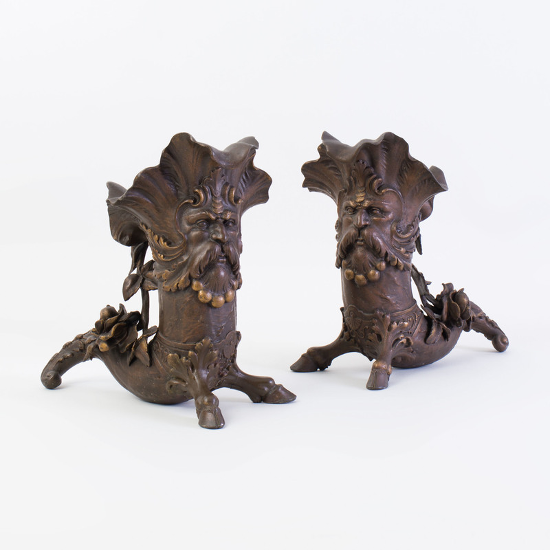 Pair of Baroque Style Cornucopia Form Patinated-Bronze Vases
