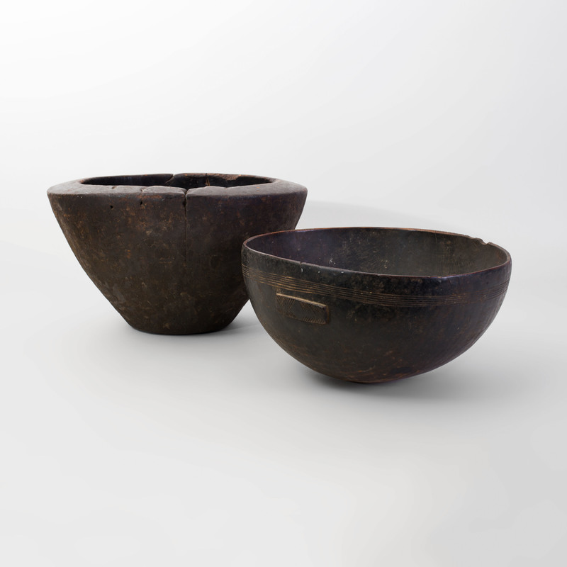 African Wood Bowl and a Large Tapered Wood Bowl