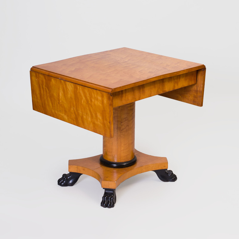 Biedermeier Birch And Ebonized Drop Leaf Table