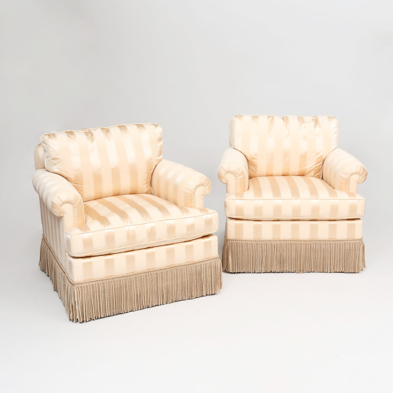 Pair of Brunschwig & Fils Cream Silk Upholstered 'Sartoga' Armchairs