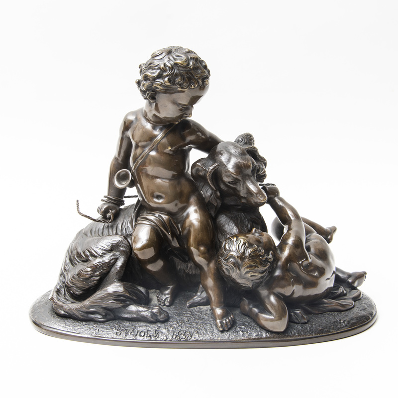 French School: Two Cupids with a Dog