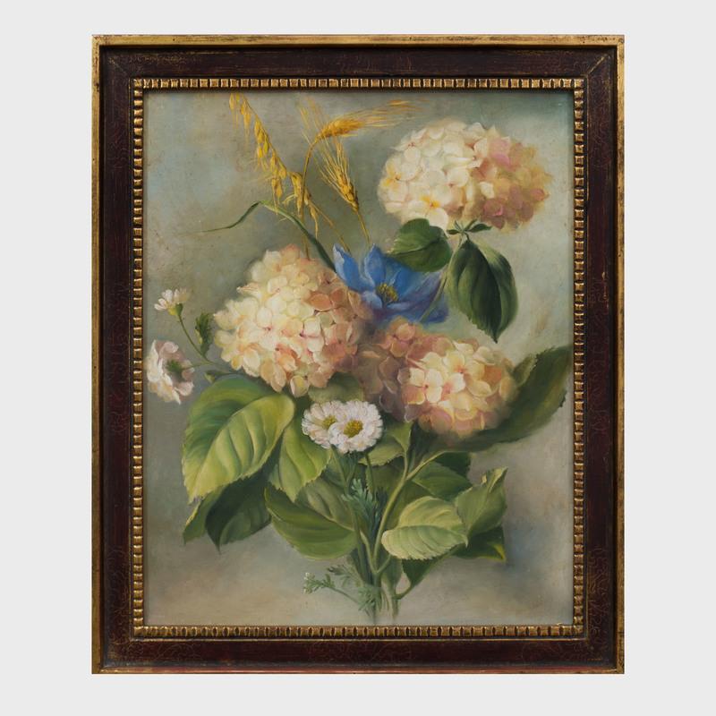 American School: Pink Hydrangeas, Blue & White Flowers