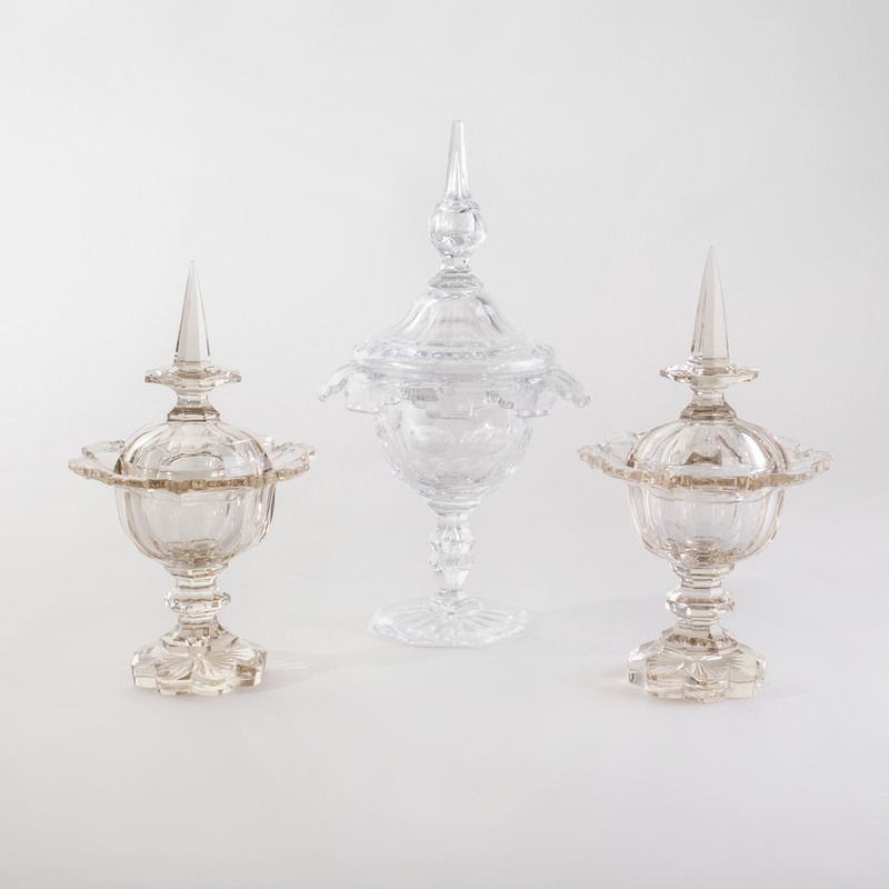 Three Cut Glass Sweetmeat Dishes and Covers