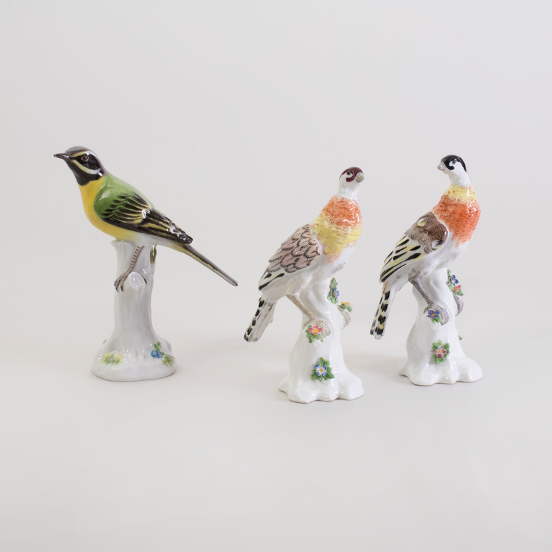 Pair of Meissen Porcelain Models of Fowl and Another Model of a Bird