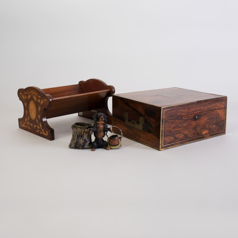 Asprey Inlaid Mahogany Book Cradle and a Brass Inlaid Rosewood Table Box