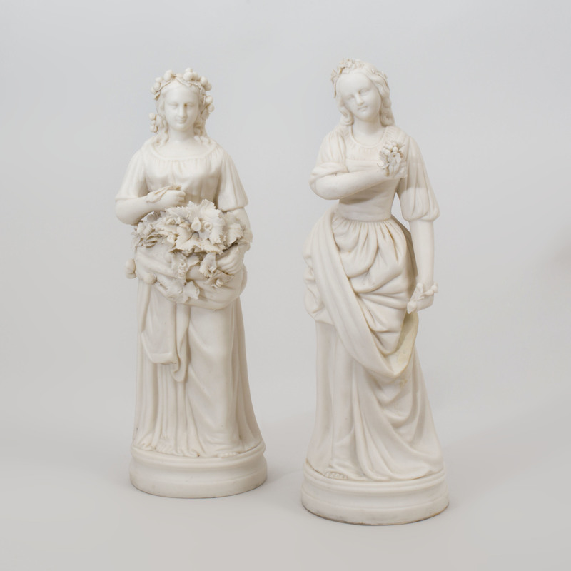 Pair of Parian Figures of Maidens on Later Painted Wood Stands
