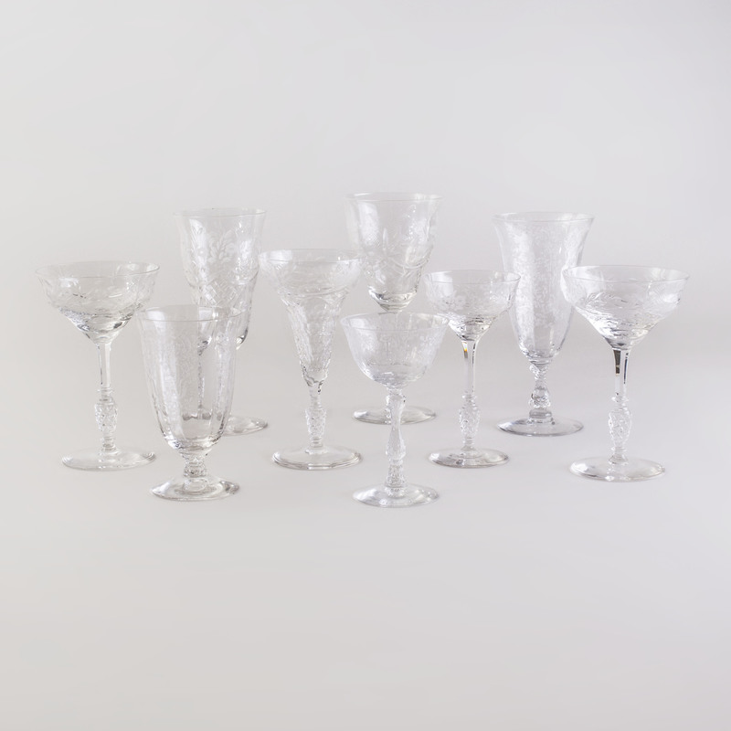 Fostoria Stemware Service and an Etched Glass Service