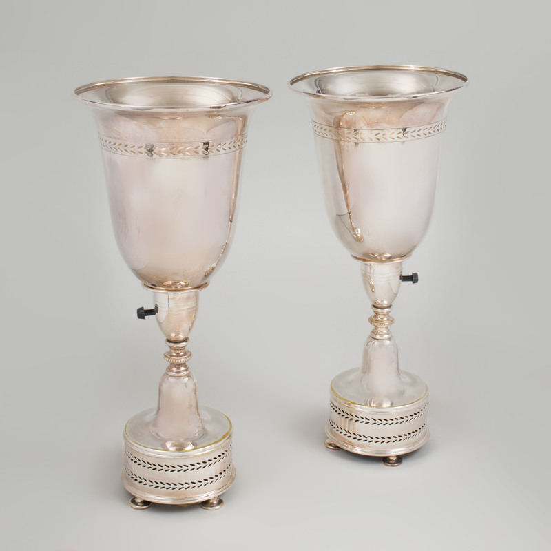 Pair of Silver Plate Urn Form Lamps