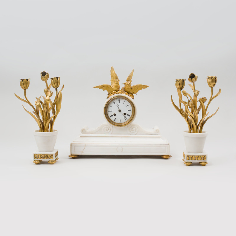 Assembled Gilt-Metal-Mounted Marble Clock Garniture
