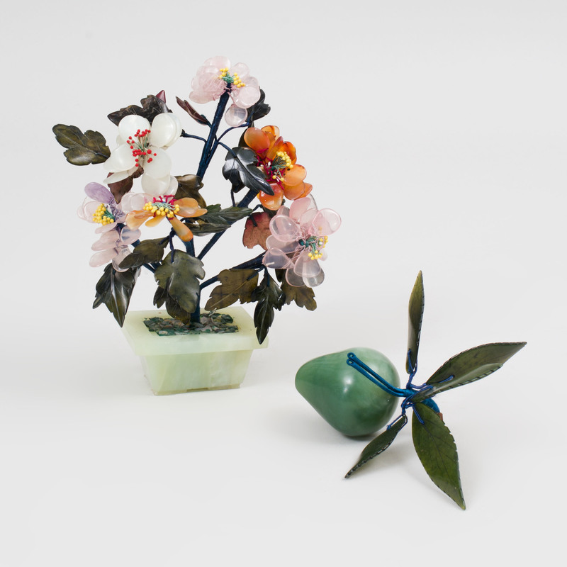 Chinese Hardstone and Jade Tree and a Model of a Peach