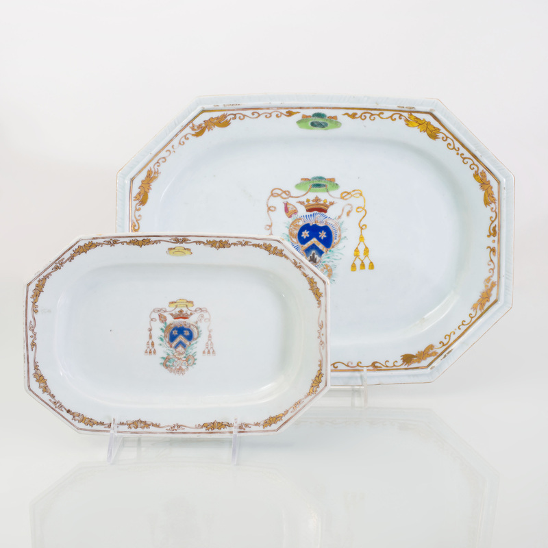 Two Chinese Export Porcelain Bishop's Armorial Graduated Small Platters