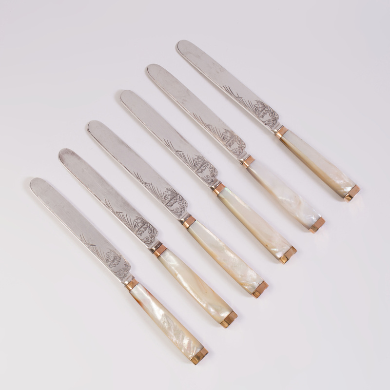 Set of Eleven George III Silver Fruit Knives with Mother-of-Pearl Handles