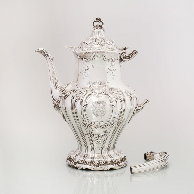 Gorham Silver Coffee Pot with Hinged Cover