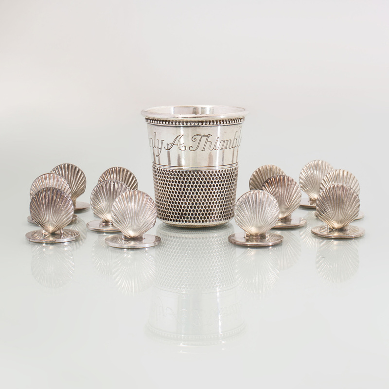 Set of Twelve Tiffany Silver Shell Form Place Card Holders