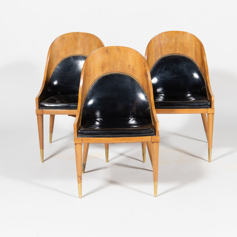 Three Art Deco Style Brass-Mounted Fruitwood Side Chairs
