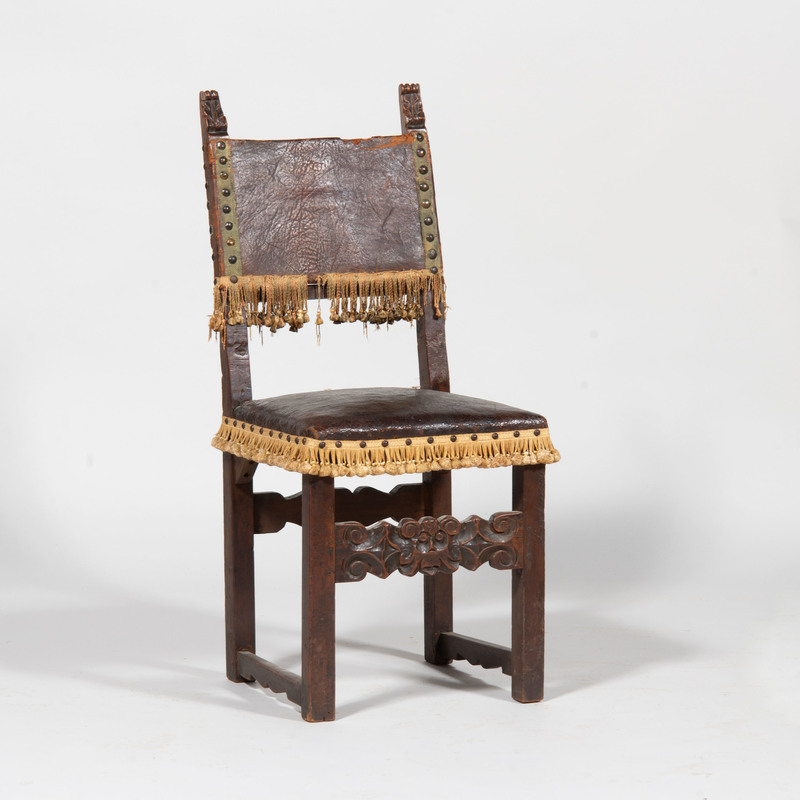 Spanish Baroque Style Carved Walnut Side Chair