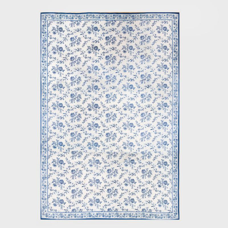 Stark Blue and White Needlework Floral Pattern Carpet