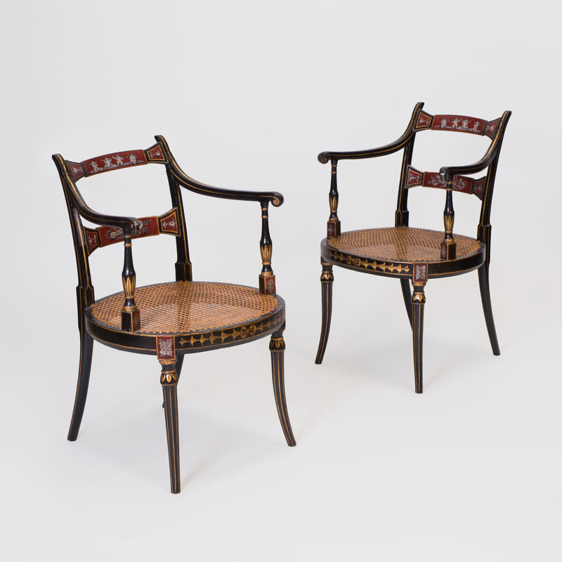 Pair of Edwardian Painted, Ebonized and Caned Armchairs