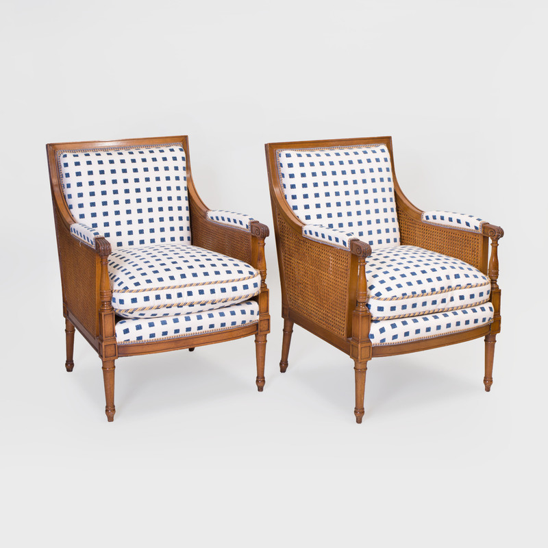 Pair of Late George III Style Caned Bergères