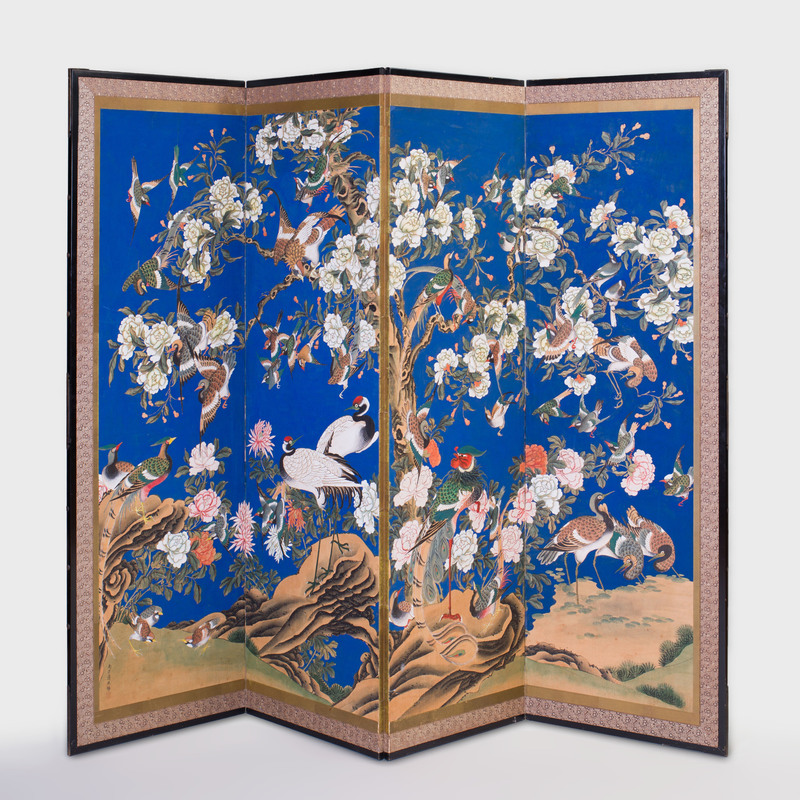 Chinese Four Panel Blue Ground Screen