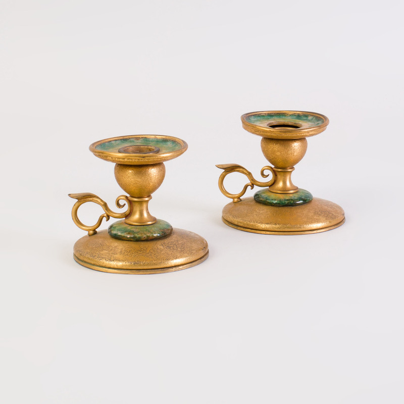 Pair of Tiffany Furnaces Gilt-Bronze and Enamel Chamber Sticks