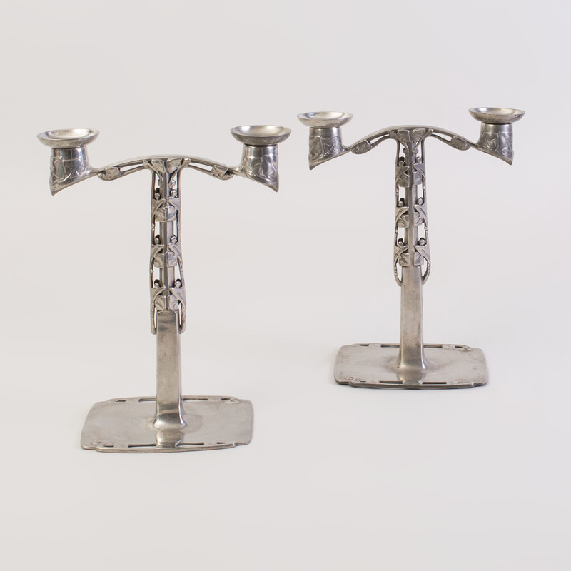 Pair of Archibald Knox Pewter 'Tudric' Candelabra