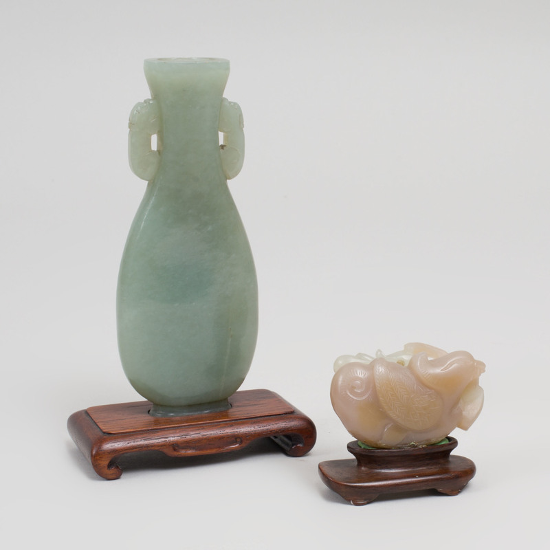 Chinese Carved Jade Pear-Form Vase and a Carved Figure of a Duck with Duckling