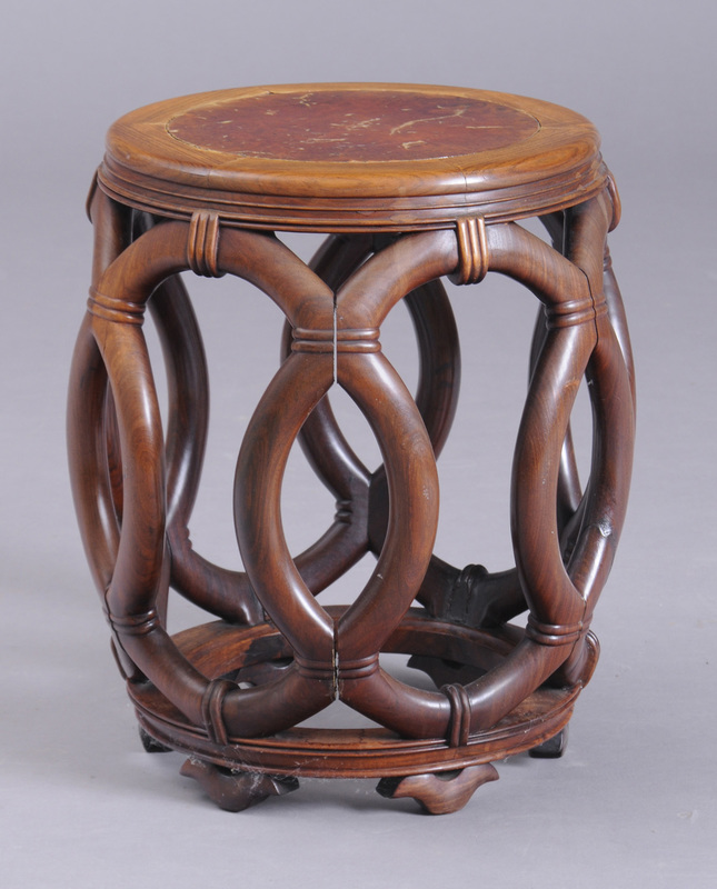Chinese Carved Hardwood Barrel-Form Stand