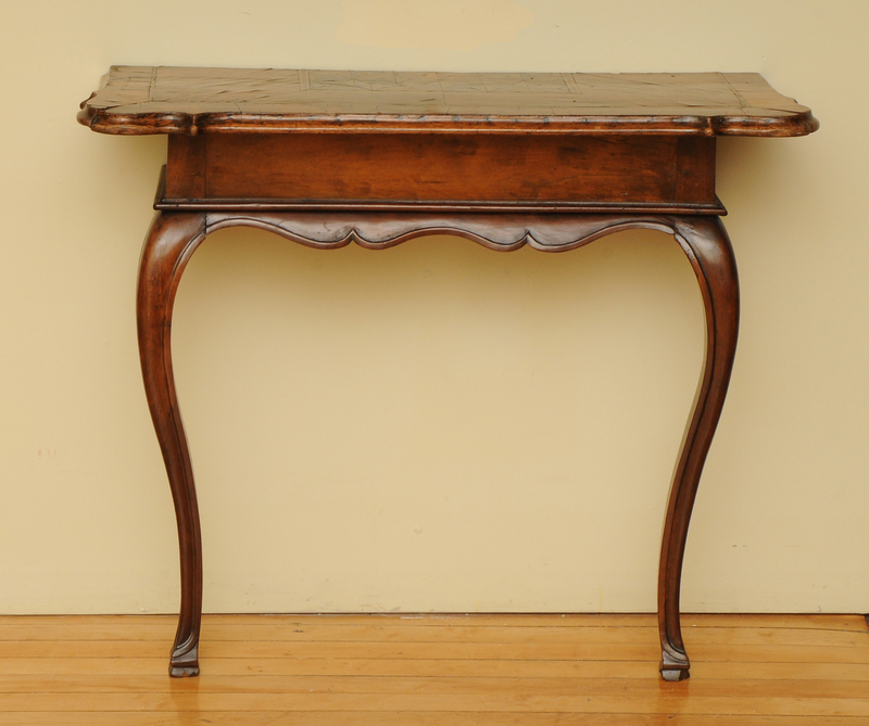 Italian Rococo Style Walnut and Parquetry Console Table