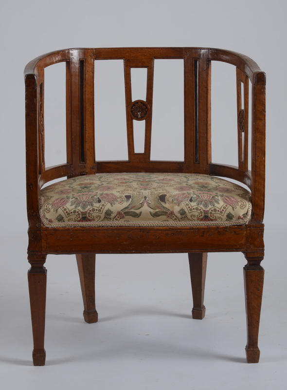 Italian Neoclassical Carved Mahogany Armchair