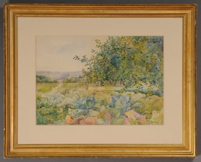 AMERICAN SCHOOL: FIELD WITH TREES AND FLOWERS