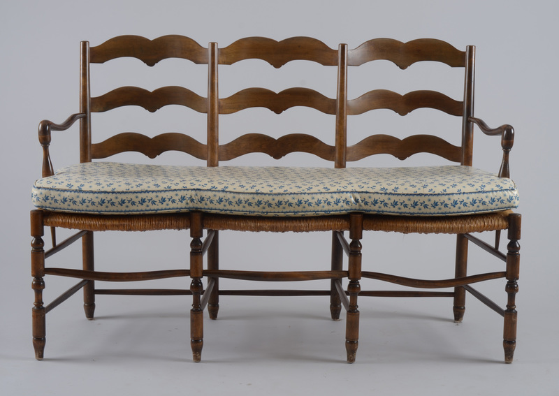 French Provincial Style Beechwood and Rush Triple Chair-Back Settee