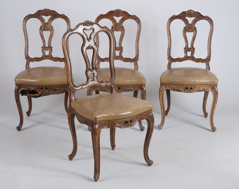 Set of Four Italian Rococo Style Carved Fruitwood Side Chairs