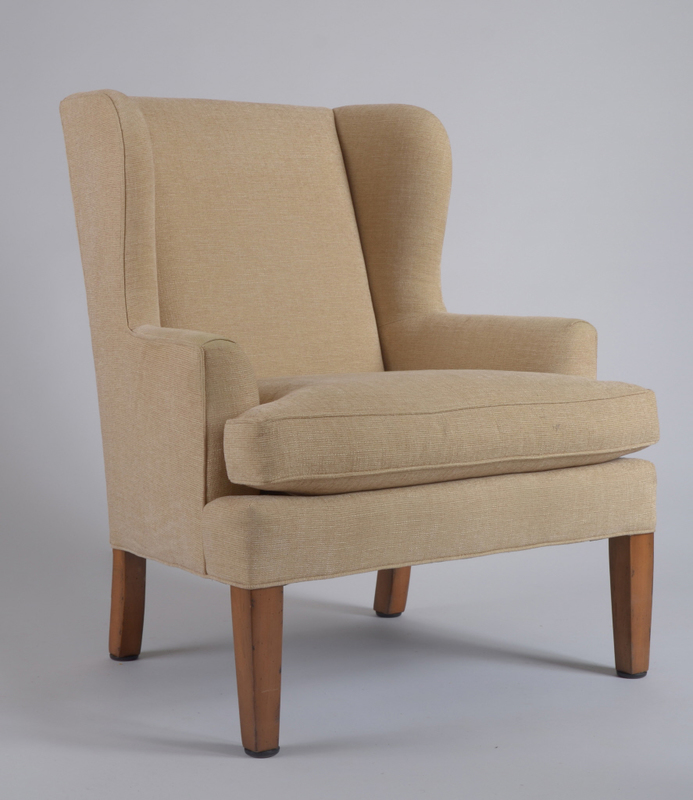Beige Upholstered Winged Armchair, Late 20th Century