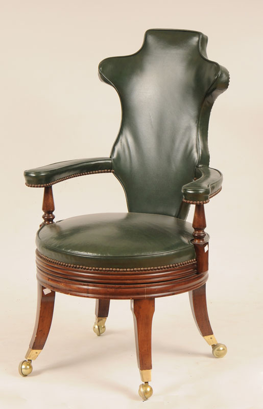 Regency Style Green Leather Upholstered Swivel Desk Chair, Smith and Watson