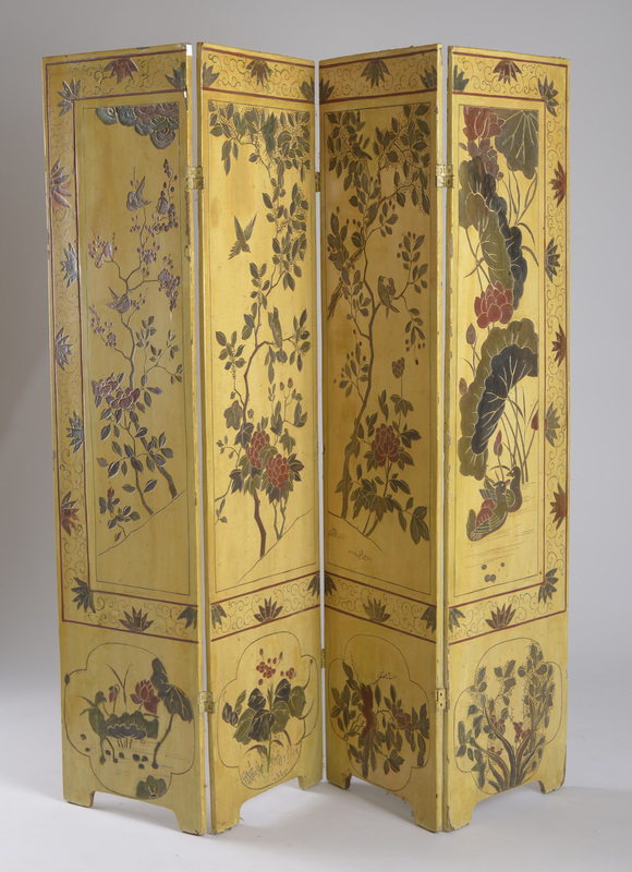 Chinese Ivory-Ground Relief-Carved Coromandel Four-Fold Screen