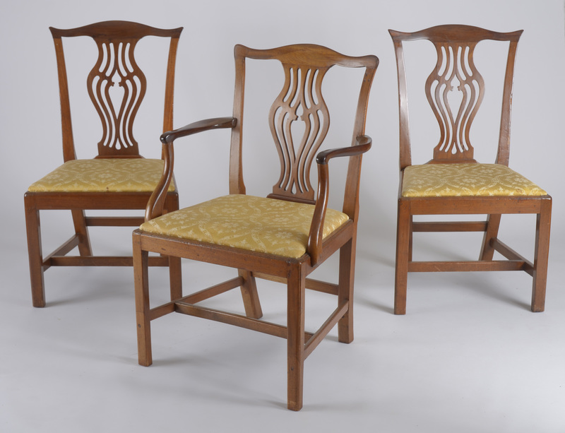 Pair of George III Style Armchairs and Four Matching Side Chairs
