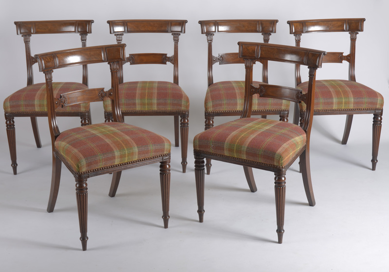Set of Six Regency Carved Mahogany Dining Chairs