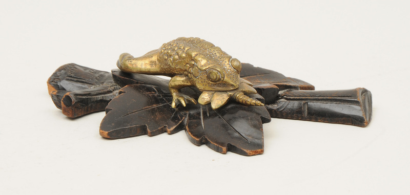 Brass Model of a Frog Eating a Dragonfly