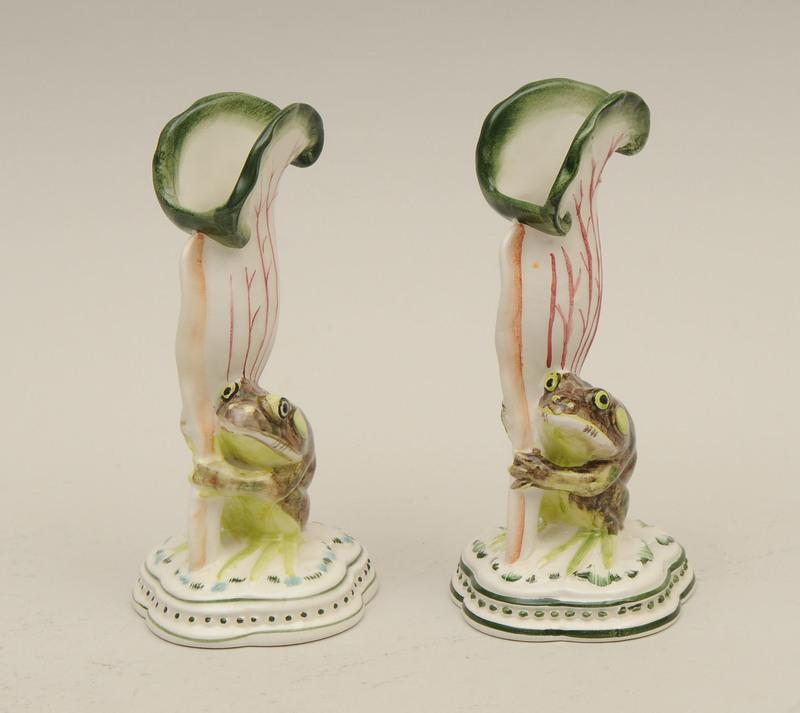 Pair of Italian Porcelain Bud Vases