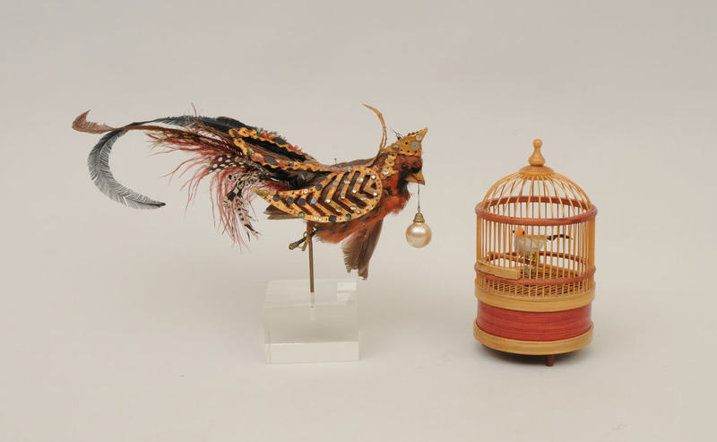 Bejeweled Fabric and Feathered Bird