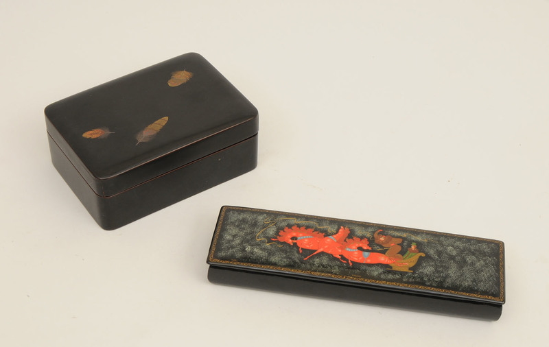 Japanese Black Lacquer and Parcel-Gilt Box